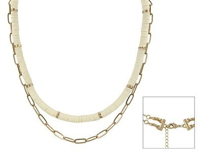 """Multi Function Gold Chain and Natural Rubber 16"""" - 18"""" Necklace"""
