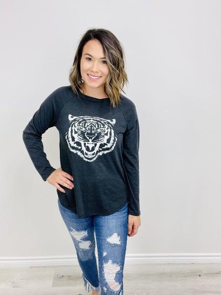Tiger Screen Print Long Sleeve Top