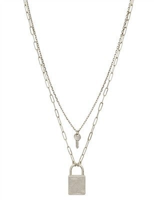 """Matte Layered Locked and Key 17""""-19"""" Necklace"""