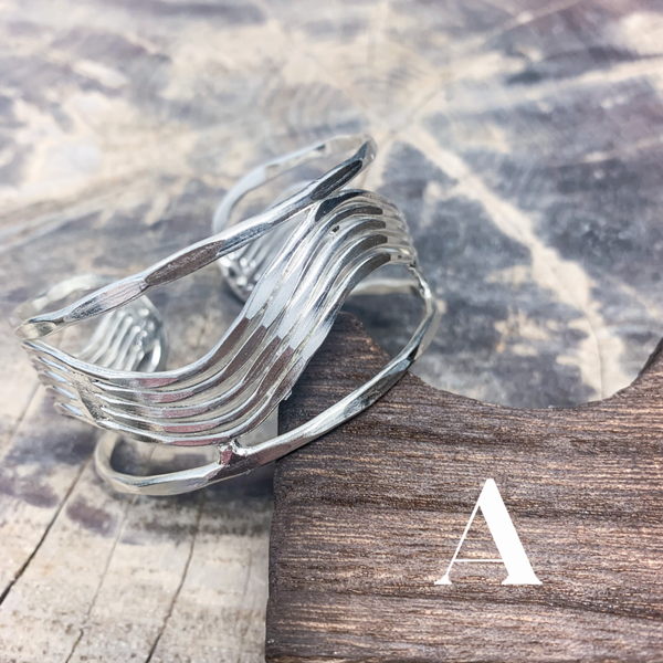 Anju Silver Plated Cuff Bracelets with Zig Zag Designs
