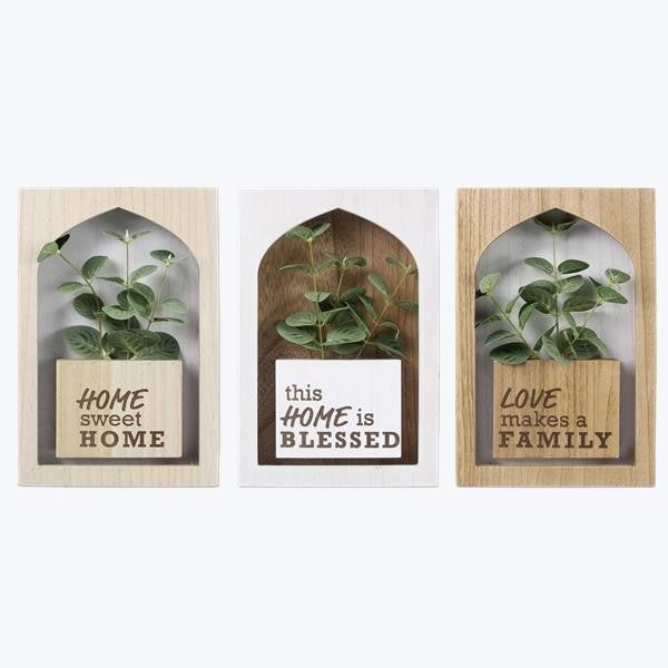 Wooden Wall Shadow Box with Artificial Greenery - ATL