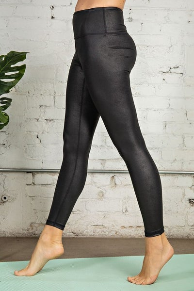 PU Chintz Full-Length High Waistband Leggings w/ Front Keyhole Pocket