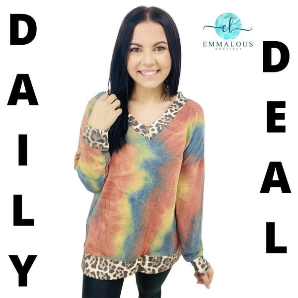 Long Sleeve Tie Dye Pullover with Predator Contrast Trim