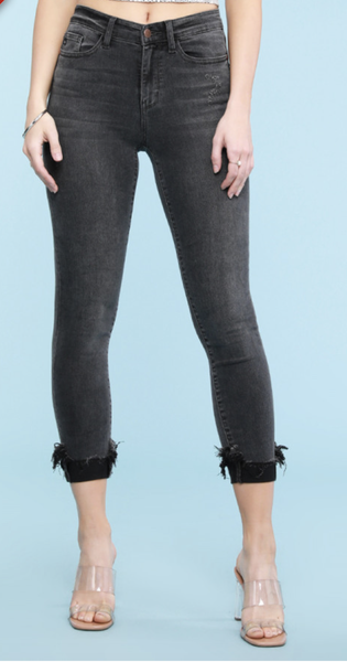 JUDY BLUE BLACK DESTROYED HEM CUFF SKINNY