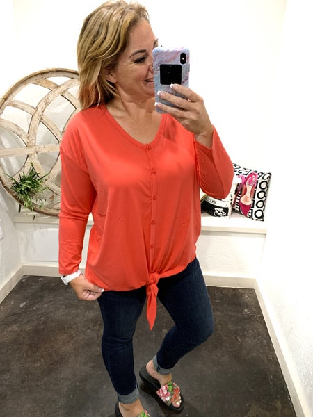 Daily Deal 3/4 Sleeve Tie Front Top