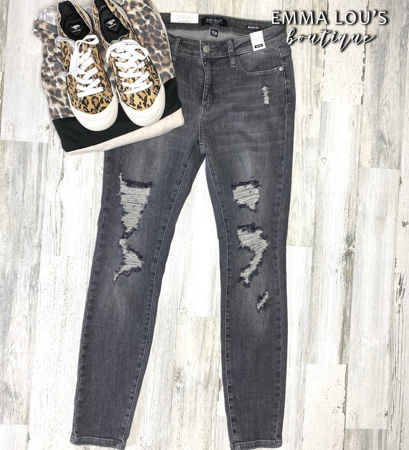 Judy Blue Grey Mid Rise Destroyed Skinny Jeans