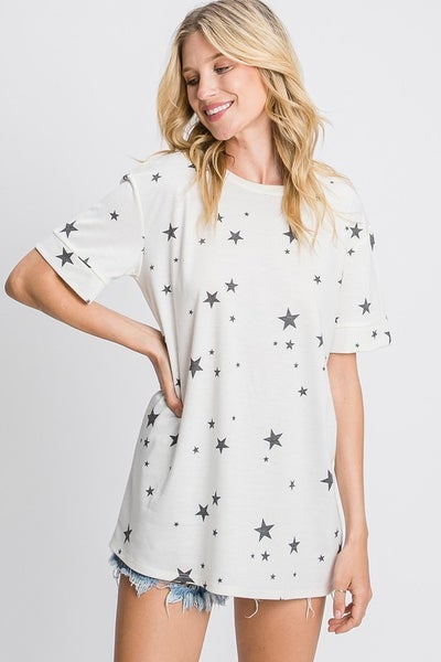 Banded Short Sleeve Top with Star Print