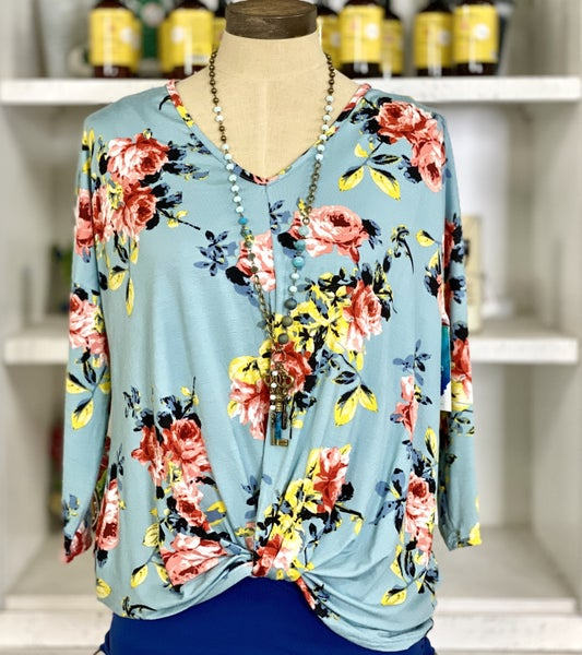 Long Sleeve Floral Knit top