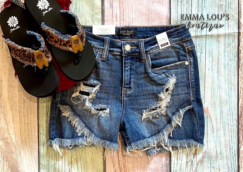 Judy Blue Tulip Hem Distressed Jean Shorts