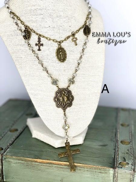 Melania Clara Double Strand Beaded Necklace with Vintage Cross Charm