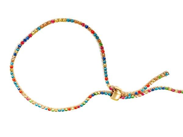 :: JEWELRY :: Gold Slide Bracelet with Multi-Color Gems