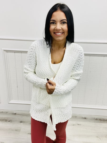 Long Sleeve Draped Neckline Knitted Open Front Cardigan