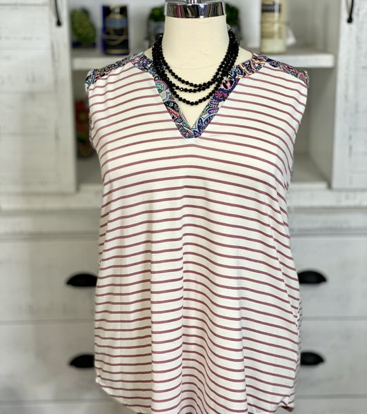 Sleeveless V-Neck Striped and Floral Contrast Top