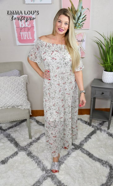 Floral Print Open Shoulder Maxi Dress