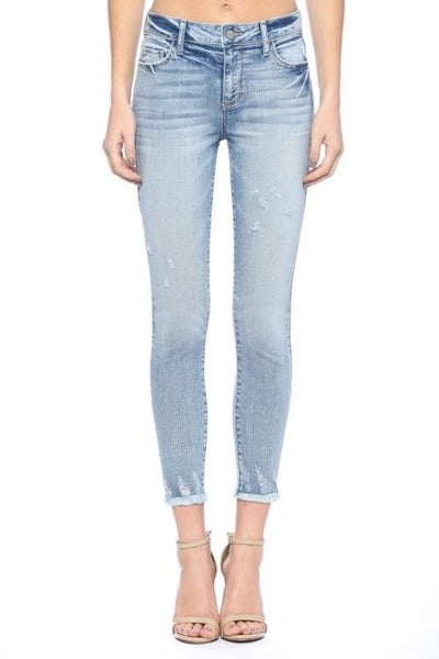 Cello Light Wash Mid-Rise Frayed Hem Skinny Jean