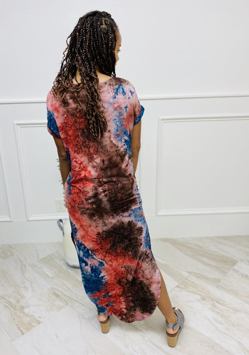 Short Sleeve Tie Dye Print Maxi Dress