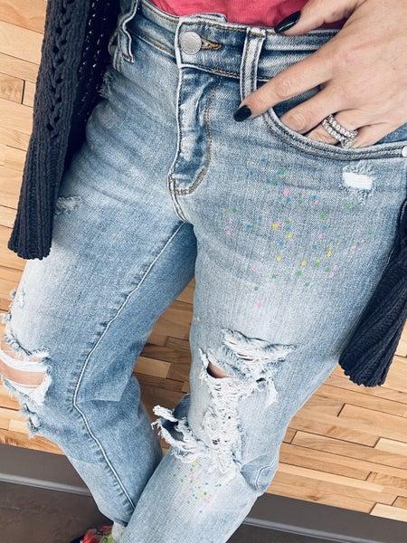 Judy Blue Rainbow Paint Splatter Jeans