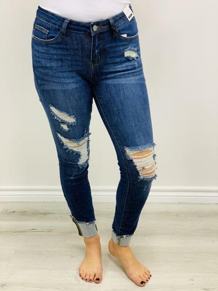 "Judy Blue ""Andrea"" Asymmetrical Cuff Hem Destroy Skinny Jeans"