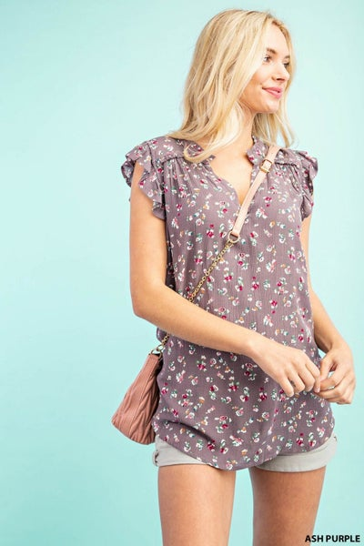 Short Sleeve Shoulder York Top with Frilly Neck