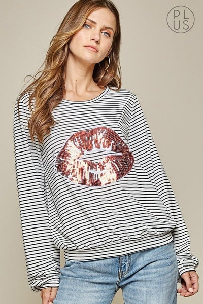 Andree by Unit Long Sleeve Striped Top with Sequin Lips