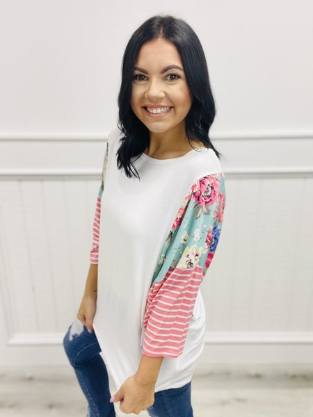 honeyme Top with Solid Bodice and Multi-Print Dolman Sleeve