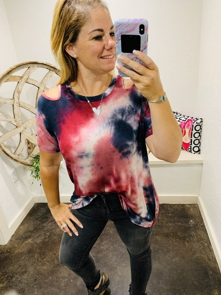 DAILY DEAL - Short Sleeve Tie Dye Knit TOP