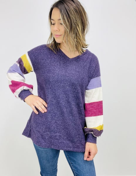 Bishop Sleeve Solid Knit Sweater