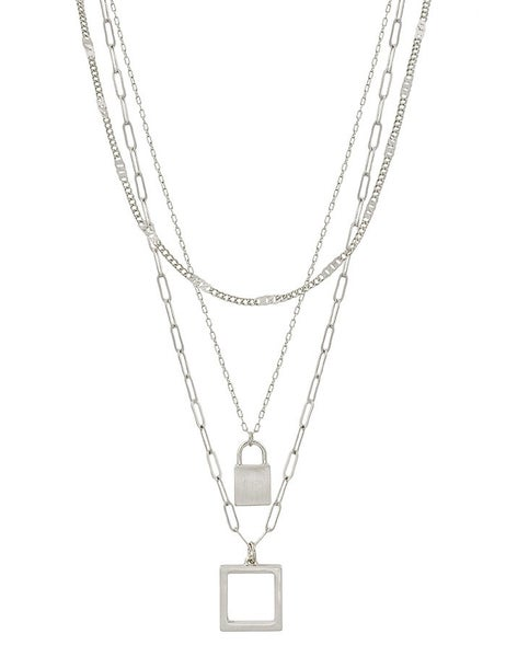 """Matte Silver Layered Locket and Square 18""""-20"""" Necklace"""