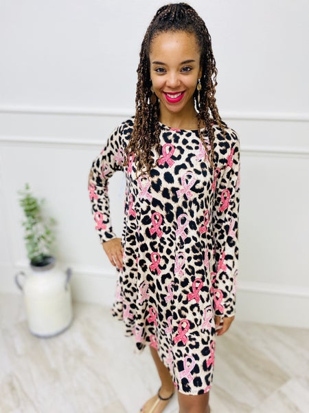 Brown Leopard And Pink Cancer Ribbon Leopard Long Sleeve Dress