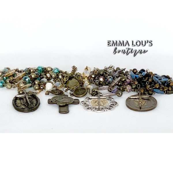 Melania Clara Long Beaded Necklace with Cross and Medallion Pendant