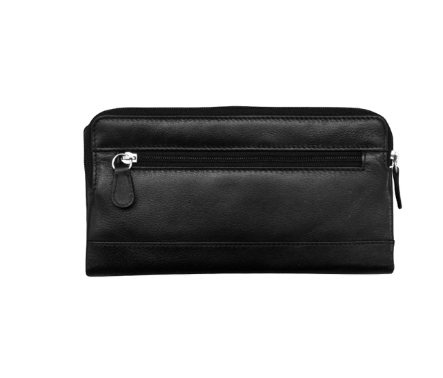 Genuine leather wallet with zip around phone pocket