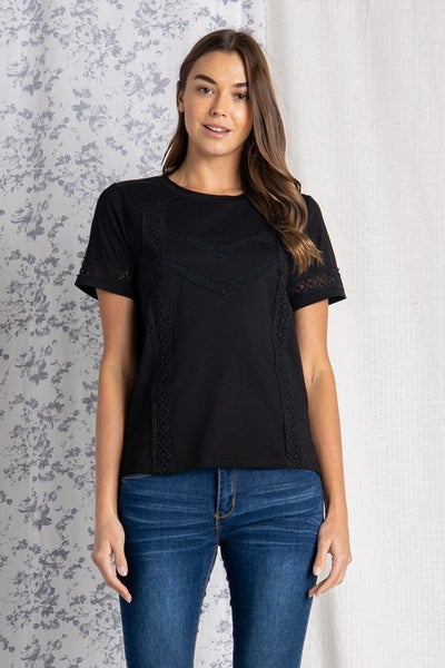 Short Sleeve Lace Trime Top