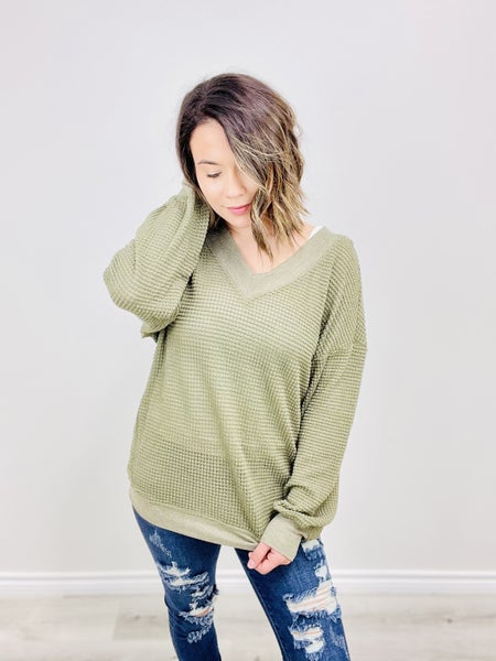 Waffle Textured V-Neck Top
