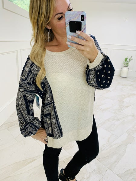 Paisley Print Contrast Detail Tunic Top