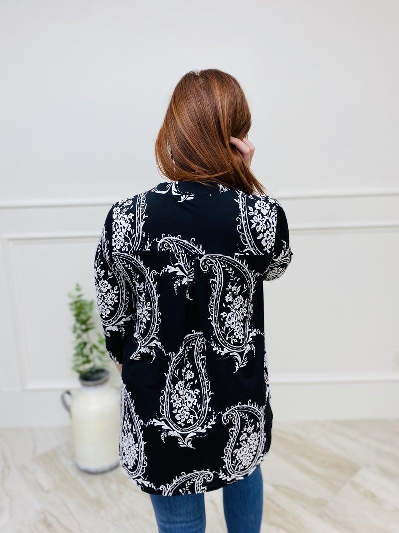 Floral Print V-Neckline 3/4 Length Sleeve Top