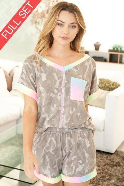 Short Sleeve Camo Set W/ Tie Dye Trim