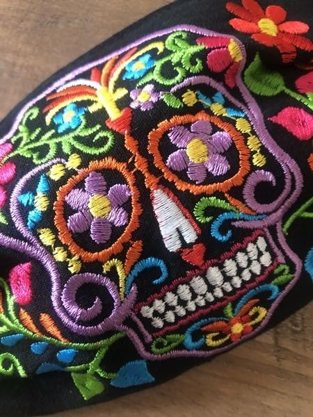 Embroidered Skull/October Face Covering