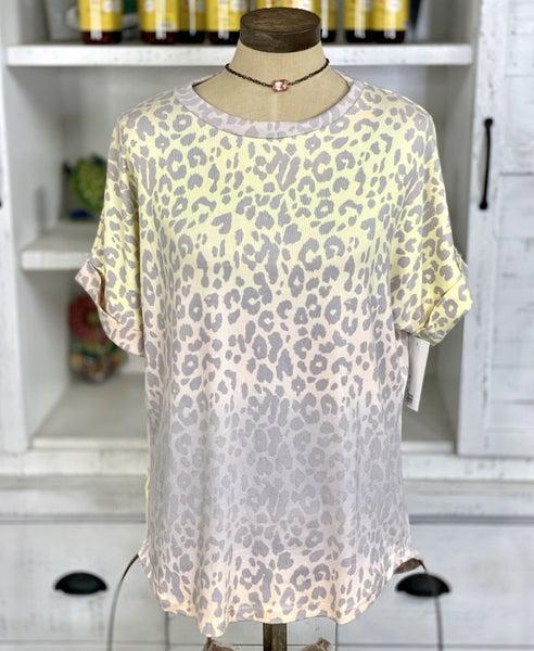 Ombre Leopard Print Short Sleeve Top
