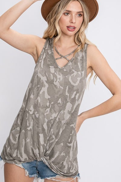 Camo Tank Top with Criss Cross Neckline and Front Twist