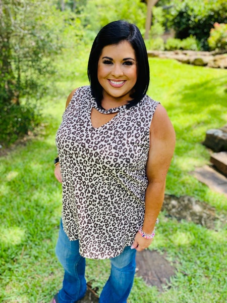 Sleeveless Leopard Print Top with Keyhole Cut Out