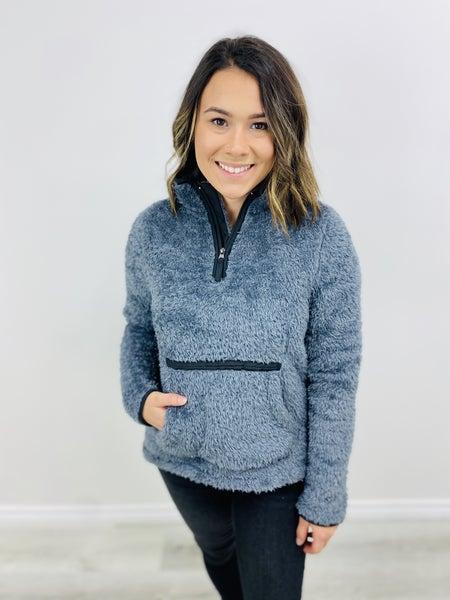 Solid Fleece Zip-Up Mock Collar Pullover