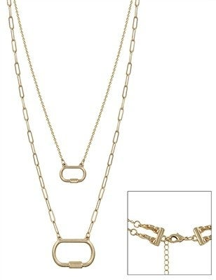 """Worn  Two Layered Lock Necklace 16"""" - 18"""""""