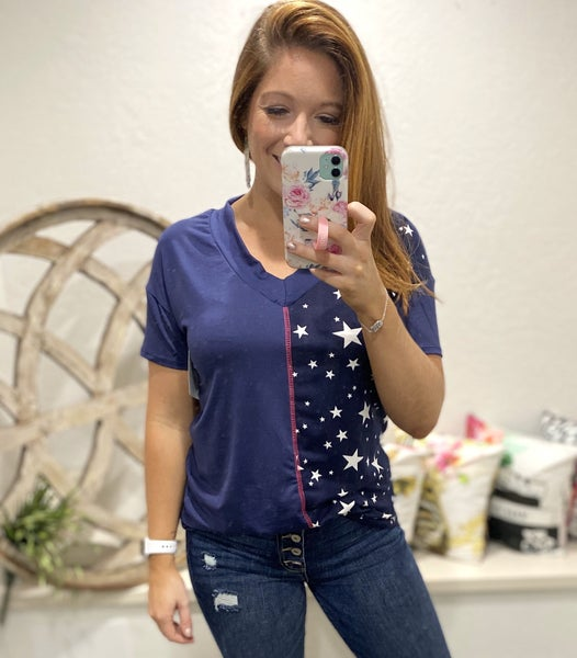 Color Block V-Neck Top with Contrast Stitching and Star Print