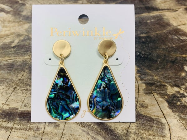 Hammered Gold Earrings with Abalone Inlay