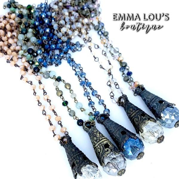 "Melania Clara 'Wild Rose"" Long Beaded Necklace"