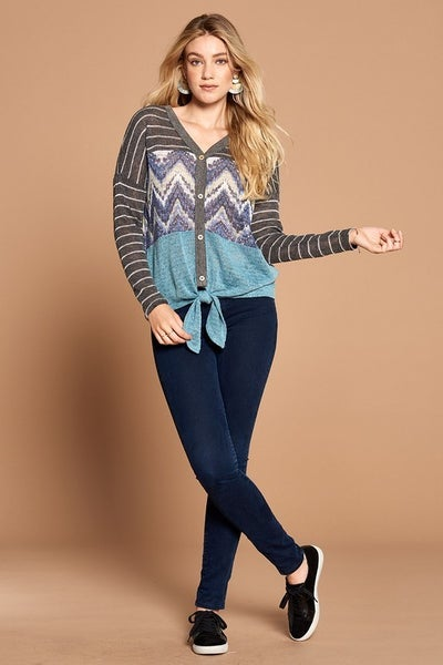 Color-Blocked Striped Button-Down Knit Top