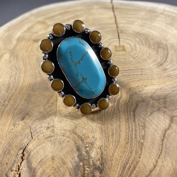 Tigers Eye and Turquoise Adjustable Ring