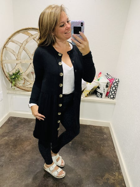 DAILY DEAL - Shirred Waist Buttoned Cardigan with Pockets