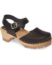 MIA Freja Brown Leather Platform Clog Sandals