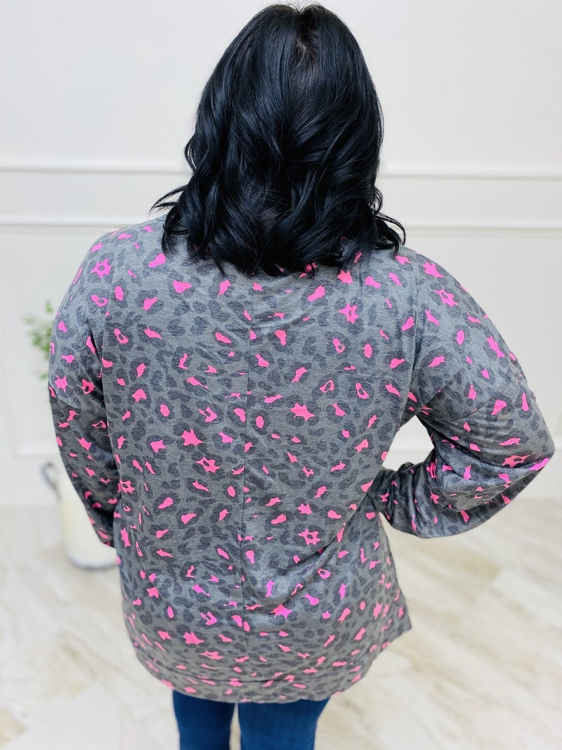 Grey Predator Long Sleeve Dolman Top with Neon Accents
